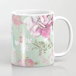 Vintage green pink floral collage typography Coffee Mug