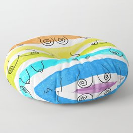 Minimal female breast size feminine body front view different boobs form Watercolor rainbow stripes Floor Pillow