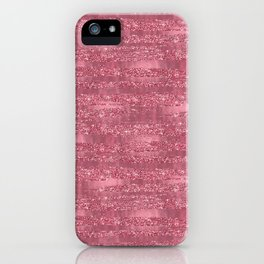 Pink Faux Glitter Foil Stripes iPhone Case