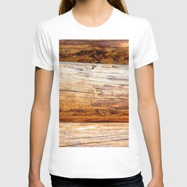 Wooden Log Wall Of A Vintage Cabin T-shirt