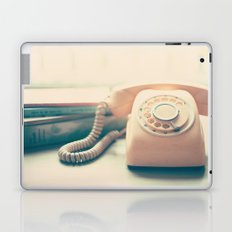 Pink Retro Telephone and Books, still life vintage  Laptop & iPad Skin