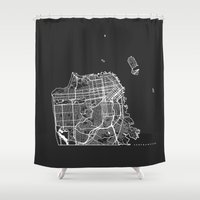 san francisco map Shower Curtains featuring SAN FRANCISCO by Nicksman