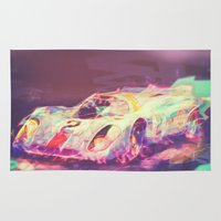 70s Area & Throw Rugs featuring 70s car by Psychedelic Astronaut