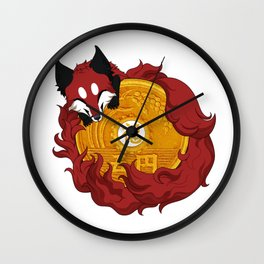 Lucky fox coin (red) Wall Clock