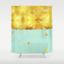 Gold Leaf on Mint Shower Curtain