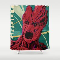 guardians of the galaxy Shower Curtains featuring Groot Guardians of the galaxy by W.B.