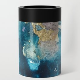 Timeless: A gorgeous, abstract mixed media piece in blue, pink, and gold by Alyssa Hamilton Art Can Cooler