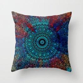 Bohemian Passion Blue & Red Mandala Design Throw Pillow