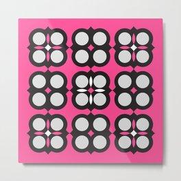 Geometric circle cross flowers check Pink Metal Print