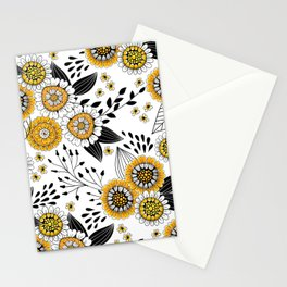 Doodle flowers in yellow and black 2 Stationery Cards