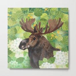 A beautiful moose in green Metal Print
