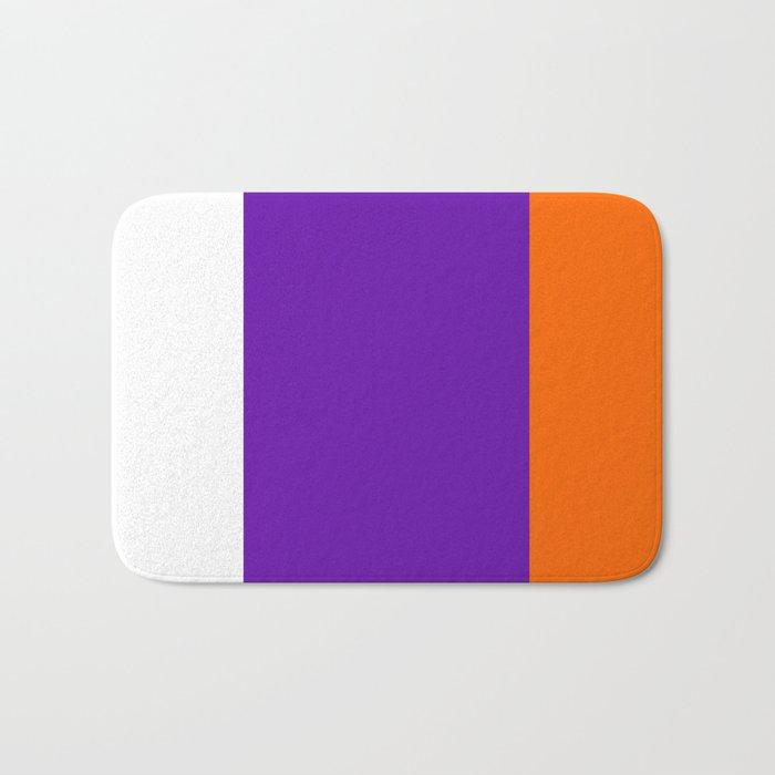TEAM COLORS 8....Orange purple white Bath Mat