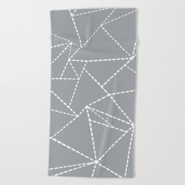 Abstract Dotted Lines Grey Beach Towel