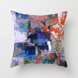 The Autumn Tree: Abstract Acrylic Painting of the Fall season Throw Pillow