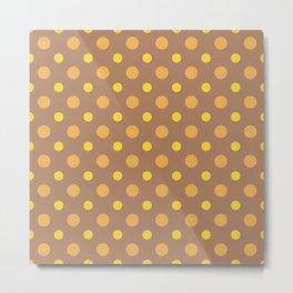Yellow Brown Dots Pattern Metal Print