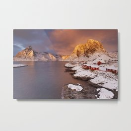 Spectacular light over Reine village on the Lofoten, Norway Metal Print