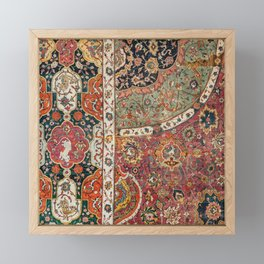 Persian Medallion Rug II // 16th Century Distressed Red Green Blue Flowery Colorful Ornate Pattern Framed Mini Art Print