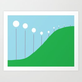 Abstract Landscape - Lights on the Hill Art Print