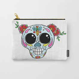Sugar skull with flowers and bee Carry-All Pouch