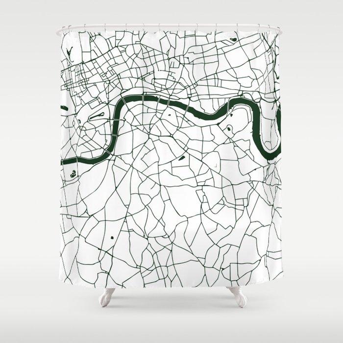 London White on Green Street Map Shower Curtain