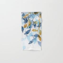 Blue and Gold watercolor leaves painting Hand & Bath Towel
