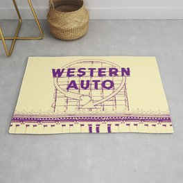 Western Auto Neon Sign In Downtown Kansas City Rug
