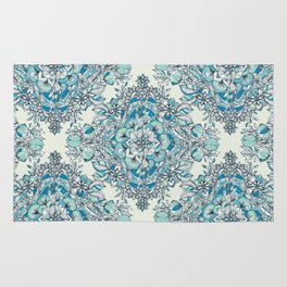 Floral Diamond Doodle in Teal and Turquoise Rug