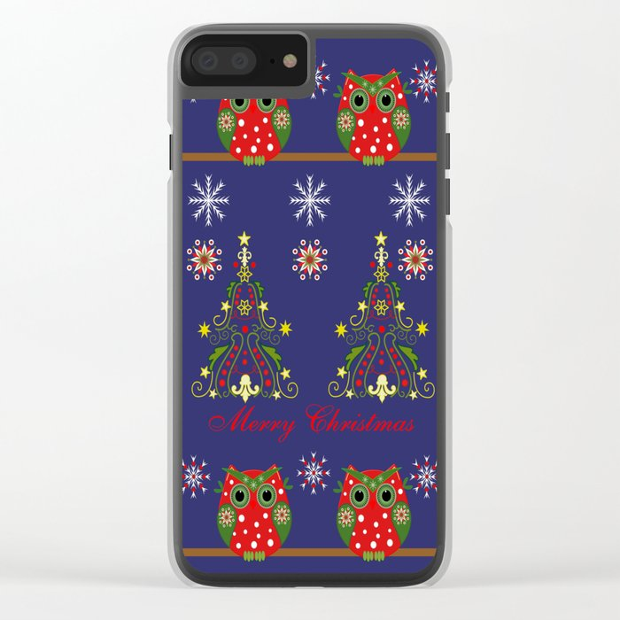 Pattern design with Christmas owls, trees and snowflakes Clear iPhone Case