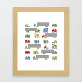 Trucks Childrens Room Decor Framed Art Print