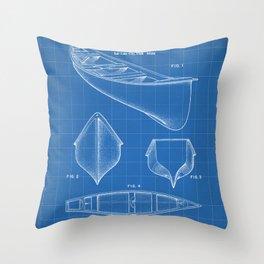 Canoe Patent - Kayak Art - Blueprint Throw Pillow