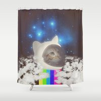 space cat Shower Curtains featuring Space Cat by omgcatz