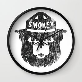 Smokey Bear Distressed Logo Wall Clock