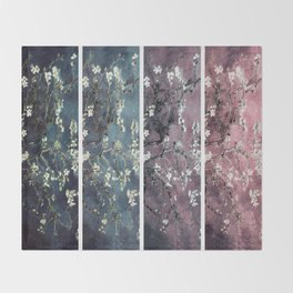 Vincent Van Gogh : Almond Blossoms Panel aRt Dark Pink Eggplant Teal Throw Blanket