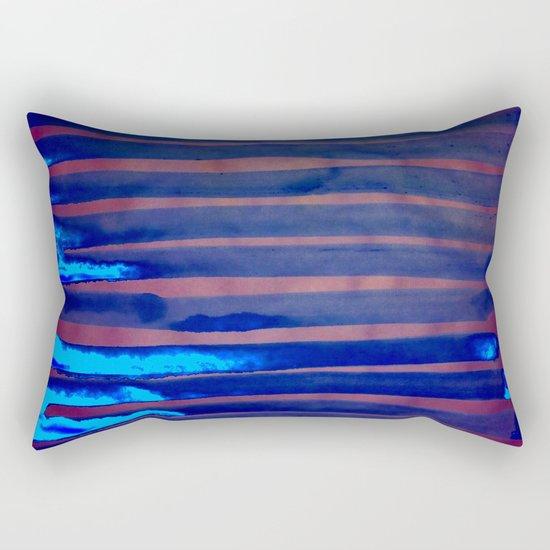Blue Ice Lines Stripe Rectangular Pillow