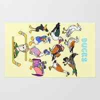 ducks Area & Throw Rugs featuring Ducks by Natelle Draws Stuff