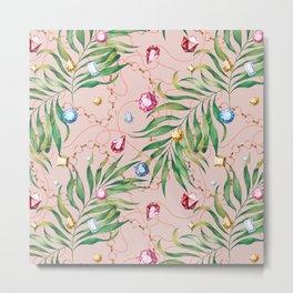 Glamorous Palm Pink Metal Print