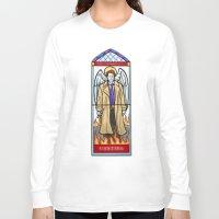 castiel Long Sleeve T-shirts featuring Castiel by Grace Mutton