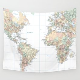 Clear World Map Wall Tapestry