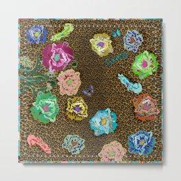 Leopard love flowers Metal Print