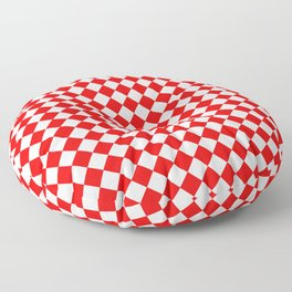 VERY SMALL RED AND WHITE HARLEQUIN DIAMOND PATTERN Floor Pillow