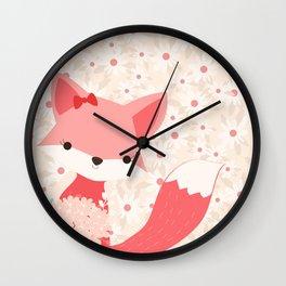 Fox Print, Woodland Animal Decor, Girls Nursery, Coral Pink Wall Clock