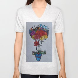 Flowercita de colores Unisex V-Neck