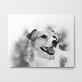 Dog Portrait (Black and White) Metal Print