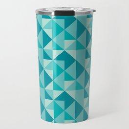 Blue triangles pattern Travel Mug