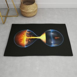 Old flame / 3D render of hourglass flowing liquid fire Rug