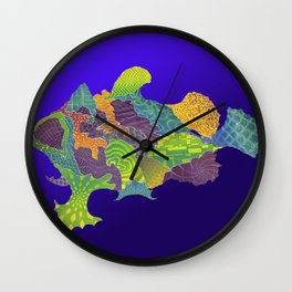 Frogfish Relief Print Wall Clock