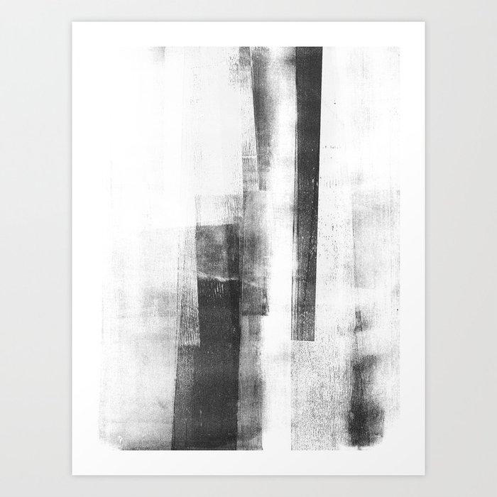 "Black and White Minimalist Geometric Abstract Painting ""Structure 3"" Kunstdrucke"