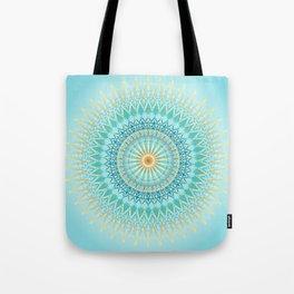 Turquoise Gold Boho Mandala Tote Bag