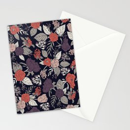 Purple, Gray, Navy Blue & Coral Floral/Botanical Pattern Stationery Cards