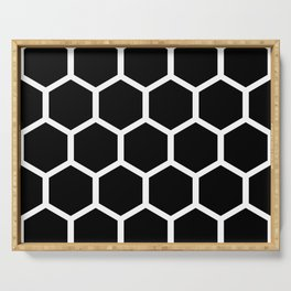 Honeycomb pattern - Black and White Serving Tray
